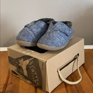 Toms Toddler Navy Chambray Slipper